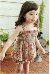 Children's Dresses girl dress little flower dress + short as a set Dec.finished