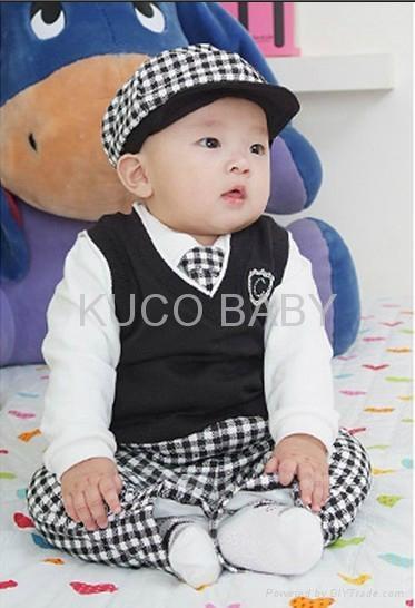 5sets/lot Baby Suit 5pc Boy Set Baby Hat Tie Jacket Pants 1