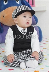 5sets/lot Baby Suit 5pc Boy Set Baby Hat Tie Jacket Pants