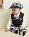 5sets/lot Baby Suit 5pc Boy Set Baby Hat Tie Jacket Pants 2