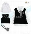 5sets/lot Baby Suit 5pc Boy Set Baby Hat Tie Jacket Pants 3
