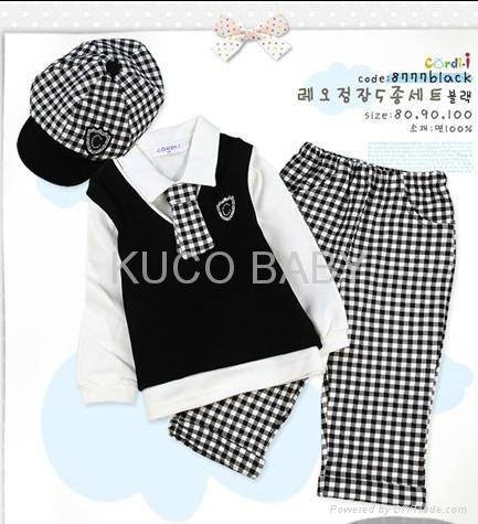 5sets/lot Baby Suit 5pc Boy Set Baby Hat Tie Jacket Pants 4