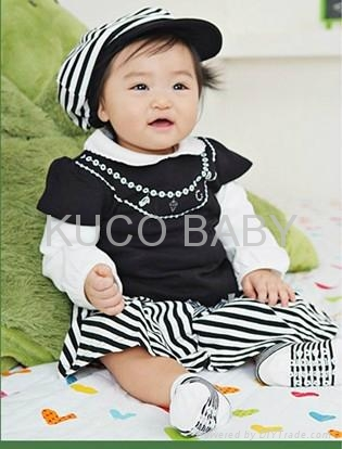 5sets/lot Baby Suit 3pc Girls Set Baby Hat T Shirt Skirts  Autumn Baby CLoths 1