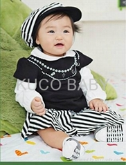 5sets/lot Baby Suit 3pc Girls Set Baby Hat T Shirt Skirts  Autumn Baby CLoths