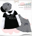 5sets/lot Baby Suit 3pc Girls Set Baby Hat T Shirt Skirts  Autumn Baby CLoths 2