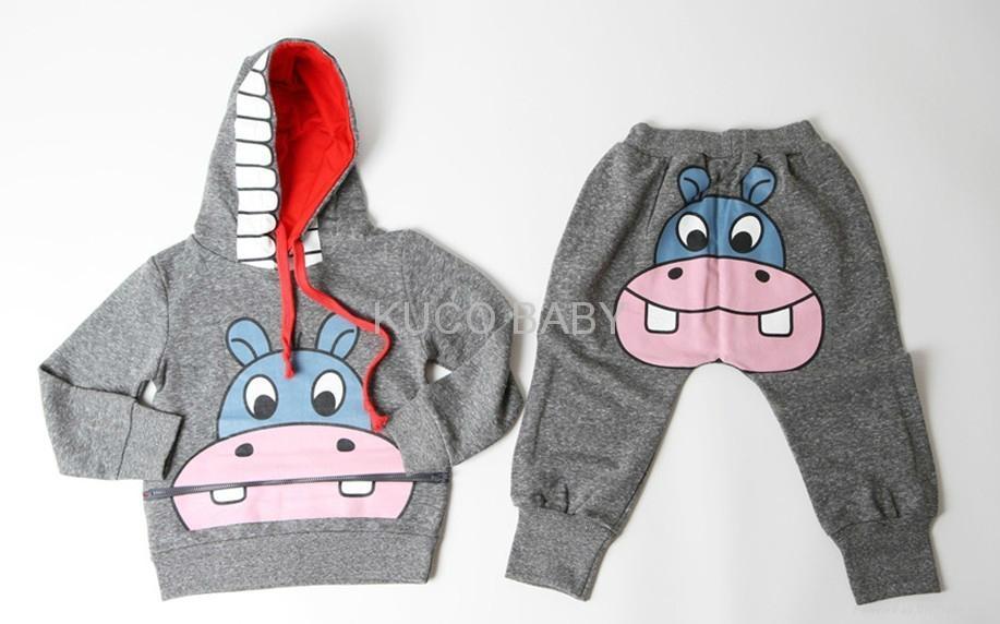 Promotions! girls boys cartoon Ox clothing sets clothes set autumn 2pcs suits 2