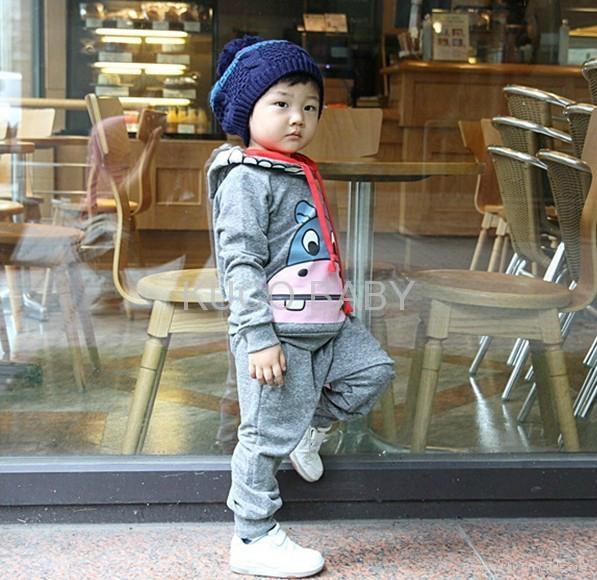 Promotions! girls boys cartoon Ox clothing sets clothes set autumn 2pcs suits 3