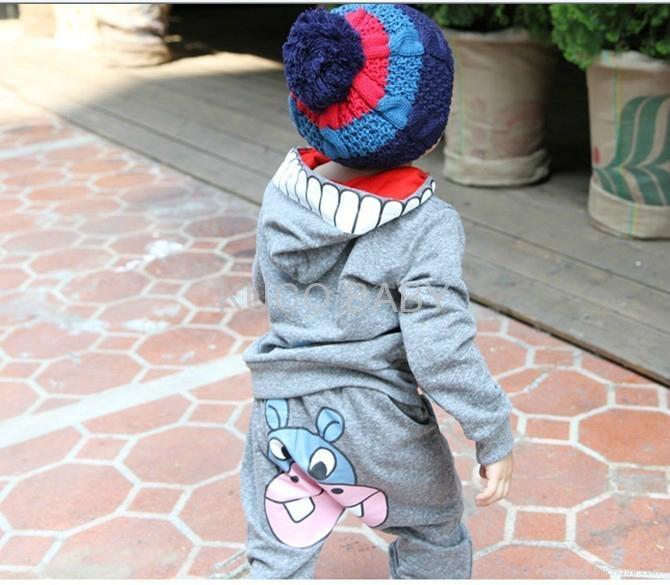 Girls boys cartoon ox clothing sets clothes set autumn 2pcs suits 5