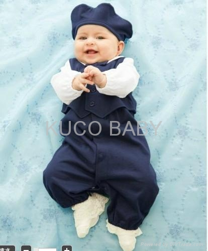2012 Autumn New Baby Boys Set 5sets/lot Hat+ Romper+ Vest 1