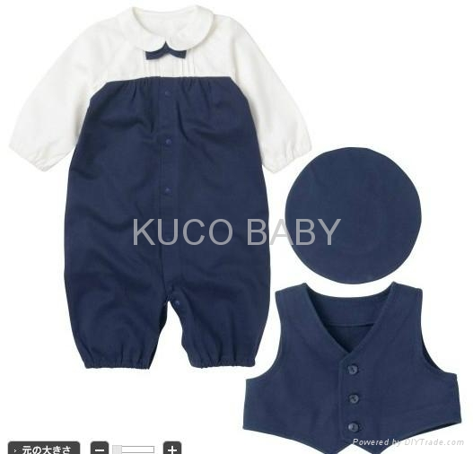 2012 Autumn New Baby Boys Set 5sets/lot Hat+ Romper+ Vest 2