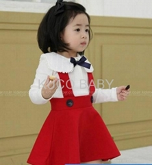White T-Shirt and Red Preppy Style Overalls Baby Suit 80-120cm