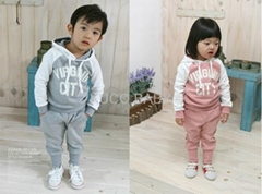 5 sets Baby Suits 2pc Hoody Coat+ Pants Letter Sporty Baby Clothes Set 90-130cm