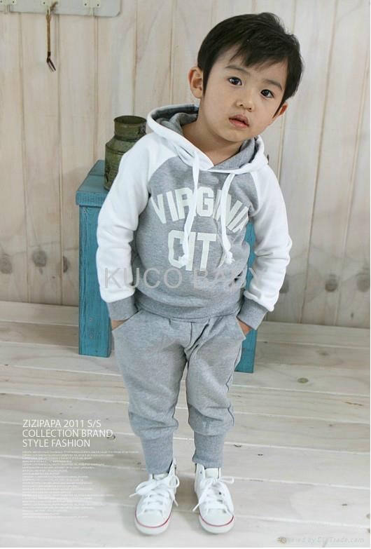 5 sets Baby Suits 2pc Hoody Coat+ Pants Letter Sporty Baby Clothes Set 90-130cm 2