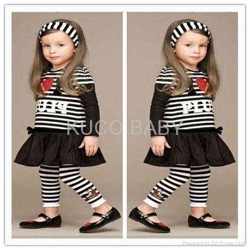 5sets/lot Baby Girls Set Striped Headband+ T Shirt +Skirts 1