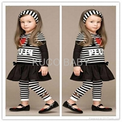 5sets/lot Baby Girls Set Striped Headband+ T Shirt +Skirts