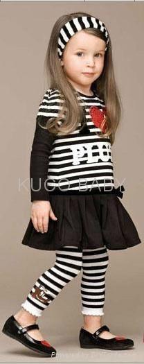 5sets/lot Baby Girls Set Striped Headband+ T Shirt +Skirts 2