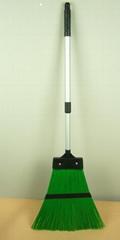 Plastic garden broom with aluminum handle