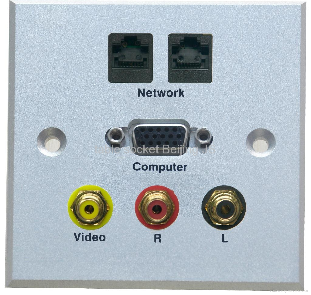 86mm*86mm AV HDMI wall plate with multi-media connectors 1