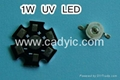 1W 3W UV Led 380~385nm Ultraviolet Light
