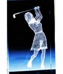 水晶高爾夫運動擺飾