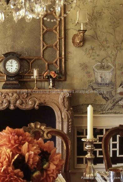 hand-painted Chinese traditional art wallpaper silk wallcoverings 5