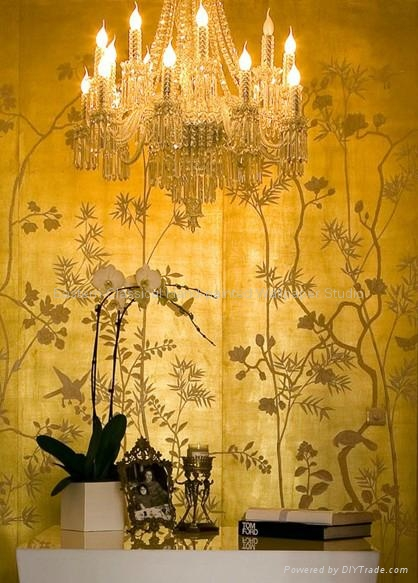 Hand Painted Wallcovering Chinoiserie Wallpaper Silk Fabric 1