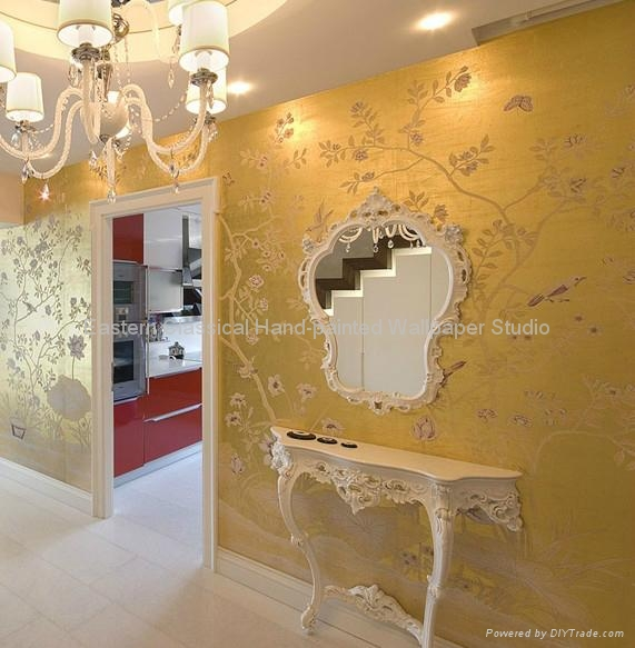 Hand Painted Wallcovering Chinoiserie Wallpaper Silk Fabric 5