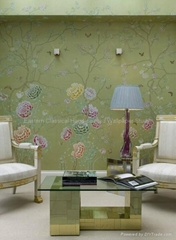 hand-painted wallcovering chinoiserie
