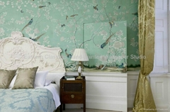 hand-painted Chinese art paper wallpaper silk wall covering