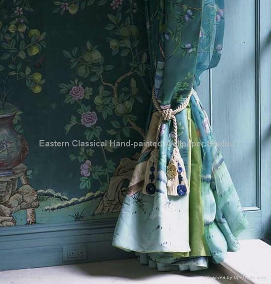 Hand Painted Silk Fabrics Wall Coverings 1