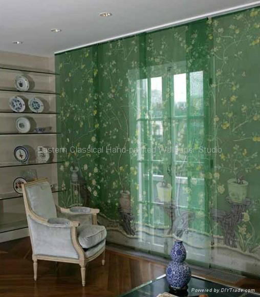 Hand Painted Silk Fabrics Wall Coverings 5