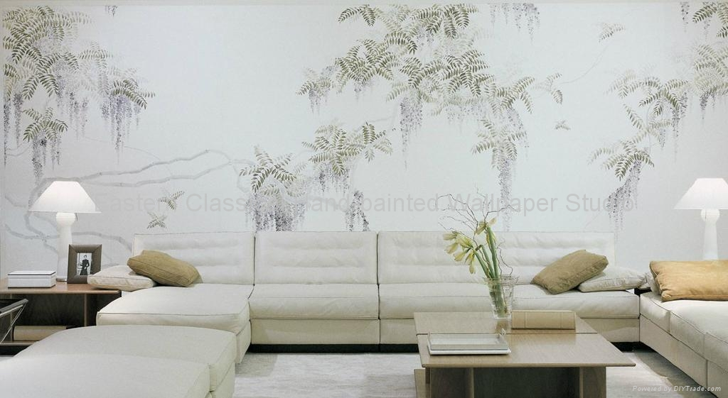 Hand painted chinese art paper wallpaper silk wall for Wall covering paper
