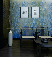 hand-painted wallpaper silk wall coverings plum blossom wallpaper