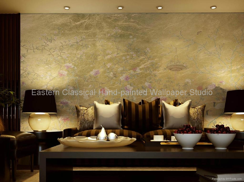 Hand Painted Wallpaper Silk Wall Coverings Plum Blossom 4
