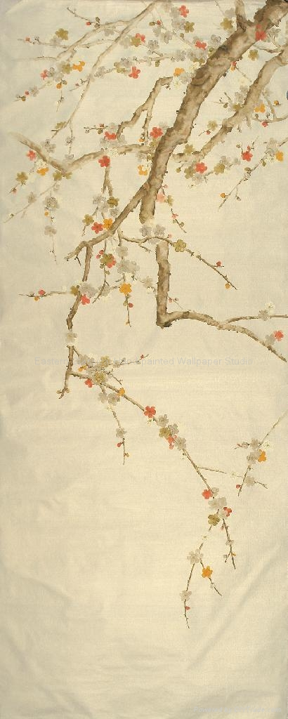 Hand Painted Plum Blossom Wallpaper Chinese Art Paper Wall