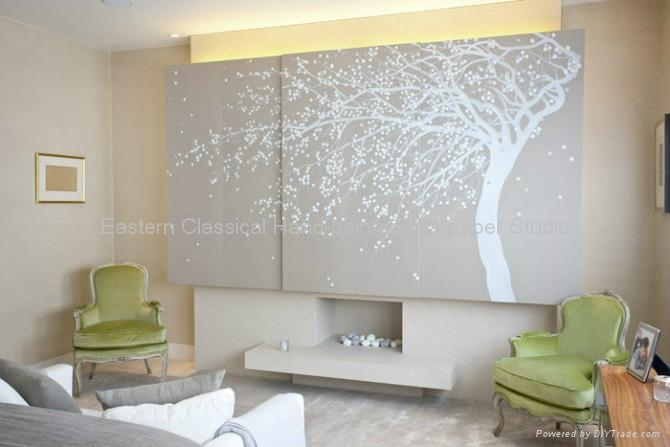 Hand painted silk wallpapers wall coverings mural for Wallpaper for walls for sale