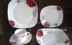 white porcelain 24 pieces square dinner set