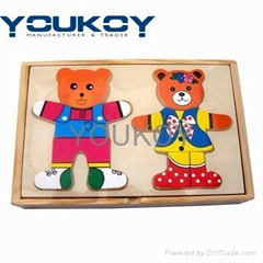 wooden bear dressing puz