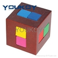 3D Wooden Brain Teaster cube Puzzle toy