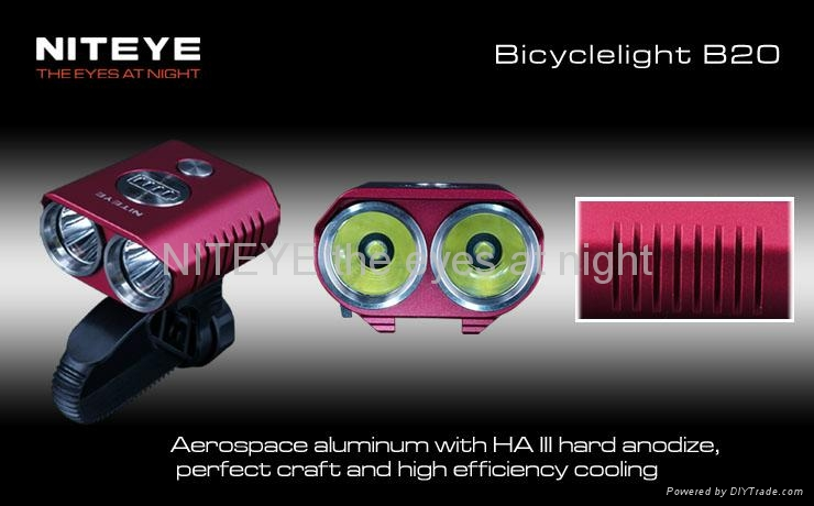 Niteye 1200 lumens B20 LED bicycle light red with battery pack 3