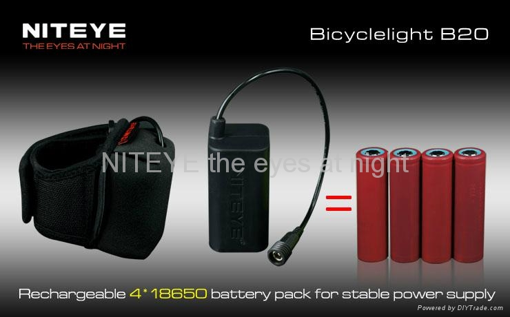 Niteye 1200 lumens B20 LED bicycle light red with battery pack 4