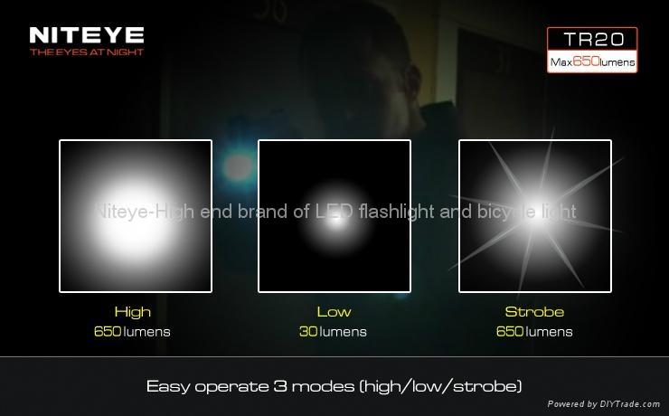 Niteye Rechargeable 650 Lumens Tactical Flashlights Tr20