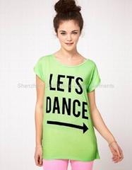 超透气女人短袖印刷tshirt