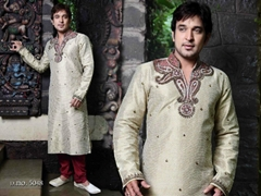 Indian wedding wear 5048 - Cream Brocade Kurta Pajama