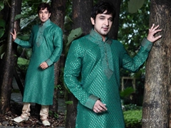 Indian ethnic wear 5051 - Turquoise Brocade Kurta Pajama