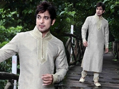 Men's Kurta Pajama 5055 - Off White Brocade