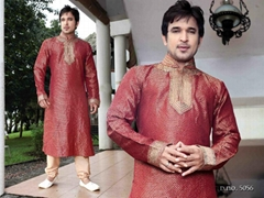 Handsome 5056 - Red Brocade Kurta Pajama