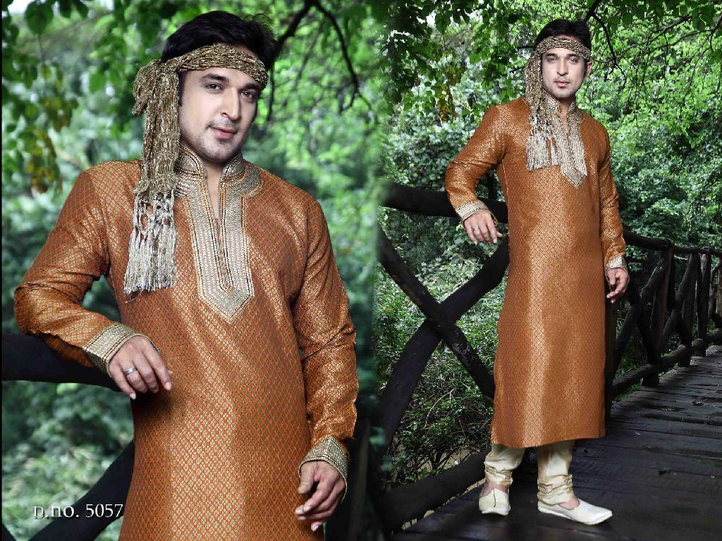 Indian ethnic wear 5057 - Mustard Brocade Kurta Pajama 1