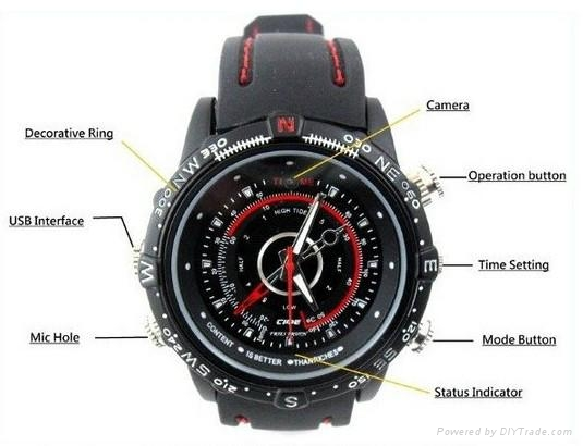 1280*960 Waterproof HD Watch Camera 16GB DVR Record  4