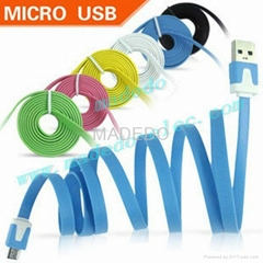 Noodle Flat Colorful MICRO USB 2.0 data sync cable for Samsung/HTC/Cellphone